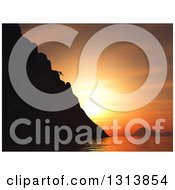 Clipart Of A 3d Silhouetted Mountain Climber Against An Orange Sunset Sky And Ocean Royalty Free Illustration