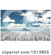 Clipart Of A 3d Wood Table With A View Of A Yacht Out At Sea On A Sunny Day Royalty Free Illustration by KJ Pargeter