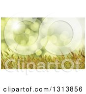 Clipart Of A 3d Golden Wheat Crop Background Over Green Flares Royalty Free Illustration by KJ Pargeter