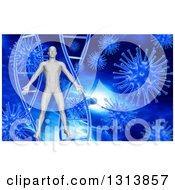 Clipart Of A 3d Man Over Blue DNA And Viruses Royalty Free Illustration