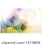Clipart Of A Background Of A 3d Camera Over Flares Royalty Free Illustration by KJ Pargeter