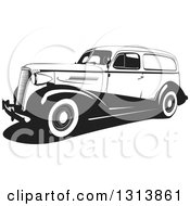 Clipart Of A Black And White Vintage Wagon Car Royalty Free Vector Illustration
