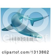 Clipart Of A 3d Swimming Blue Shark Royalty Free Vector Illustration by dero