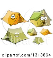 Clipart Of Cartoon Orange And Green Tents Royalty Free Vector Illustration