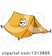 Clipart Of A Cartoon Smiling Orange Tent Character Royalty Free Vector Illustration