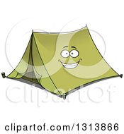 Clipart Of A Cartoon Smiling Green Tent Character Royalty Free Vector Illustration