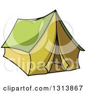 Clipart Of A Cartoon Green Tent Royalty Free Vector Illustration by Vector Tradition SM