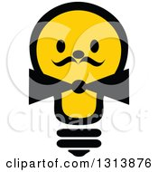 Clipart Of A Shining Yellow Light Bulb Character With A Bow Tie And Mustache Royalty Free Vector Illustration
