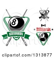 Clipart Of Billiard Eightballs With Racks And Cue Sticks Royalty Free Vector Illustration