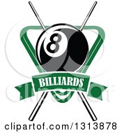 Clipart Of A Billiard Eightball Over Crossed Cue Sticks And A Green Rack With A Text Banner Royalty Free Vector Illustration