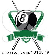 Clipart Of A Billiard Eightball Over Crossed Cue Sticks And A Green Rack With A Blank Banner Royalty Free Vector Illustration