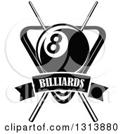 Clipart Of A Black And White Billiard Eightball Over Crossed Cue Sticks And A Rack With A Text Banner Royalty Free Vector Illustration