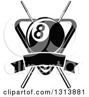 Clipart Of A Black And White Billiard Eightball Over Crossed Cue Sticks And A Rack With A Blank Banner Royalty Free Vector Illustration