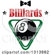 Clipart Of A Billiard Eightball Over A Green Rack With A Bow Tie And Text Royalty Free Vector Illustration