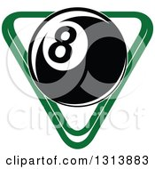 Clipart Of A Billiard Eightball Over A Green Rack Royalty Free Vector Illustration by Vector Tradition SM
