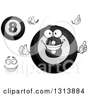 Clipart Of A Cartoon Grayscale Face Hands And Billiard Eightballs Royalty Free Vector Illustration