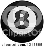 Clipart Of A Cartoon Grayscale Shiny Billiard Eightball Royalty Free Vector Illustration