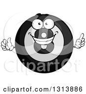 Clipart Of A Cartoon Grayscale Shiny Billiard Eightball Character Holding Up A Finger Royalty Free Vector Illustration