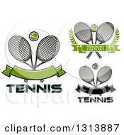 Clipart Of Crossed Tennis Rackets Balls And Banners With Text Royalty Free Vector Illustration