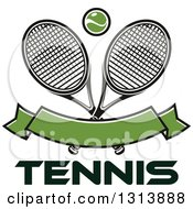 Clipart Of Crossed Tennis Rackets With A Ball Over A Blank Green Banner And Text Royalty Free Vector Illustration