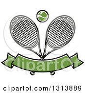 Clipart Of Crossed Tennis Rackets With A Ball Over A Blank Green Banner Royalty Free Vector Illustration