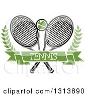 Clipart Of Crossed Tennis Rackets With A Ball Branches And A Green Text Banner Royalty Free Vector Illustration