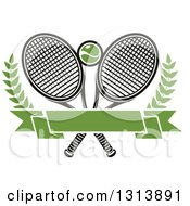 Clipart Of Crossed Tennis Rackets With A Ball Branches And A Blank Green Banner Royalty Free Vector Illustration by Vector Tradition SM