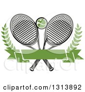 Clipart Of Crossed Tennis Rackets With A Ball Branches And A Blank Green Banner 2 Royalty Free Vector Illustration