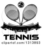Clipart Of Crossed Black And White Tennis Rackets With A Ball Over A Blank Banner And Text Royalty Free Vector Illustration