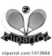 Clipart Of Crossed Black And White Tennis Rackets With A Ball Over A Blank Banner Royalty Free Vector Illustration