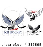 Clipart Of Winged Ice Hockey Skates With Crossed Sticks And Text Royalty Free Vector Illustration