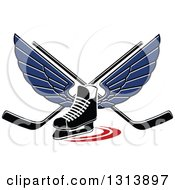 Clipart Of A Blue Winged Ice Hockey Skate With Crossed Sticks Royalty Free Vector Illustration