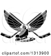 Clipart Of A Black And White Winged Ice Hockey Skate With Crossed Sticks Royalty Free Vector Illustration