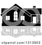 Clipart Of A Black Residential Home And Gray Reflection 10 Royalty Free Vector Illustration