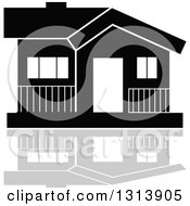 Clipart Of A Black Residential Home And Gray Reflection 12 Royalty Free Vector Illustration