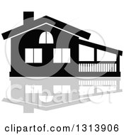 Clipart Of A Black Residential Home And Gray Reflection 13 Royalty Free Vector Illustration