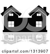 Clipart Of A Black Residential Home And Gray Reflection 14 Royalty Free Vector Illustration