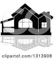 Clipart Of A Black Residential Home And Gray Reflection 15 Royalty Free Vector Illustration