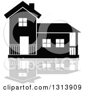 Clipart Of A Black Residential Home And Gray Reflection 16 Royalty Free Vector Illustration