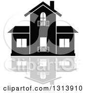 Clipart Of A Black Residential Home And Gray Reflection 17 Royalty Free Vector Illustration