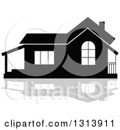 Clipart Of A Black Residential Home And Gray Reflection 18 Royalty Free Vector Illustration