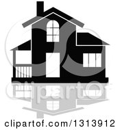 Clipart Of A Black Residential Home And Gray Reflection 2 Royalty Free Vector Illustration
