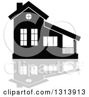 Clipart Of A Black Residential Home And Gray Reflection 3 Royalty Free Vector Illustration
