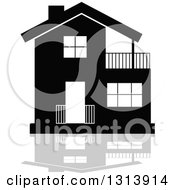 Clipart Of A Black Residential Home And Gray Reflection 4 Royalty Free Vector Illustration