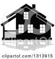 Clipart Of A Black Residential Home And Gray Reflection 5 Royalty Free Vector Illustration