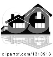 Clipart Of A Black Residential Home And Gray Reflection 6 Royalty Free Vector Illustration