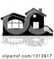 Clipart Of A Black Residential Home And Gray Reflection 7 Royalty Free Vector Illustration