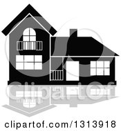 Clipart Of A Black Residential Home And Gray Reflection 8 Royalty Free Vector Illustration
