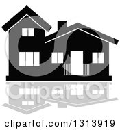 Clipart Of A Black Residential Home And Gray Reflection 9 Royalty Free Vector Illustration