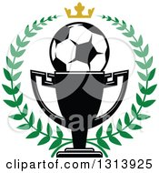 Clipart Of A Soccer Ball In A Championship Trophy Cup Within A Green Wreath With A Gold Crown Royalty Free Vector Illustration by Vector Tradition SM